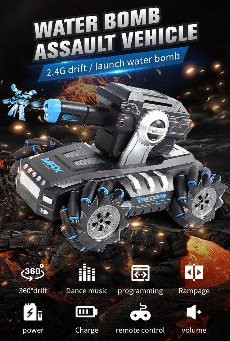 Nuevo tanque con Sensor de gestos de Control remoto, lanzamiento de coche, bomba de agua, vehículo de ataque, música 2,4G Drift Driving RC, juguete para regalo de programación