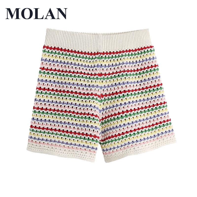 Женские шорты MOLAN, шикарные модные полосатые трикотажные винтажные женские шорты с высокой эластичной талией, горячая Распродажа, хорошее к...