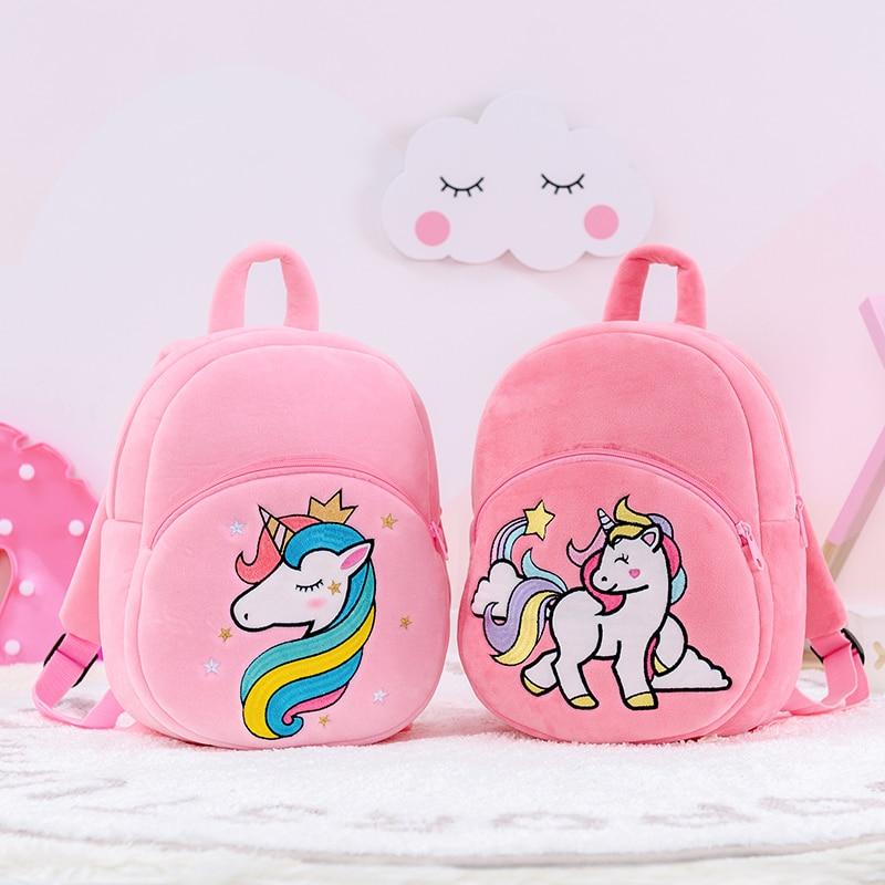 Gloveleya, mochila de felpa Animal, mochila de caballo bonito de dibujos animados, mochila escolar para niños, unicornio, muñecas de peluche blandas, bolso escuela bebé de felpa