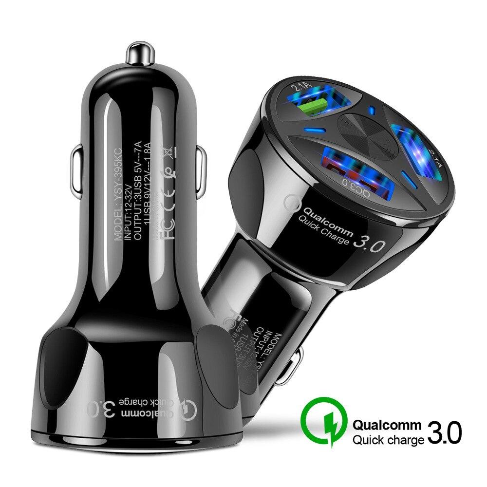 Qc3.0 автомобильное зарядное устройство, автомобильное зарядное устройство с тремя USB-портами, автомобильное зарядное устройство для быстрой...