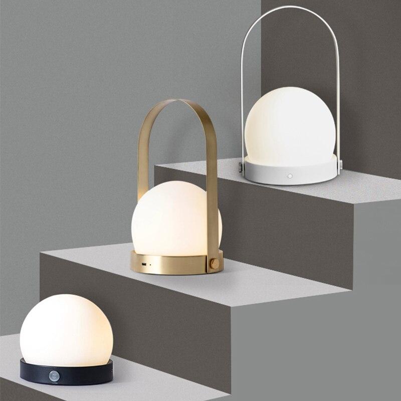 Lámpara de mesa de carga led portátil nórdica ins lámpara de noche USB bar mesilla de noche atmósfera lámpara de mesa camping al aire libre