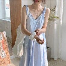 2020 New Women Summer V Neck Sweet Blue Long Tank Dress Sleeveless Loose Waistline Midi Holiday Sundress