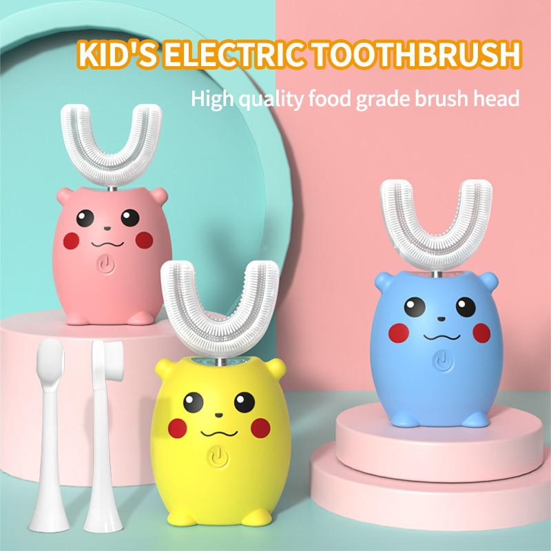 Sonic Electric Toothbrush For Kids Silicon Automatic Ultrasonic Tooth Brush Cartoon Pattern Children 360 Degrees U-shaped XaoMi