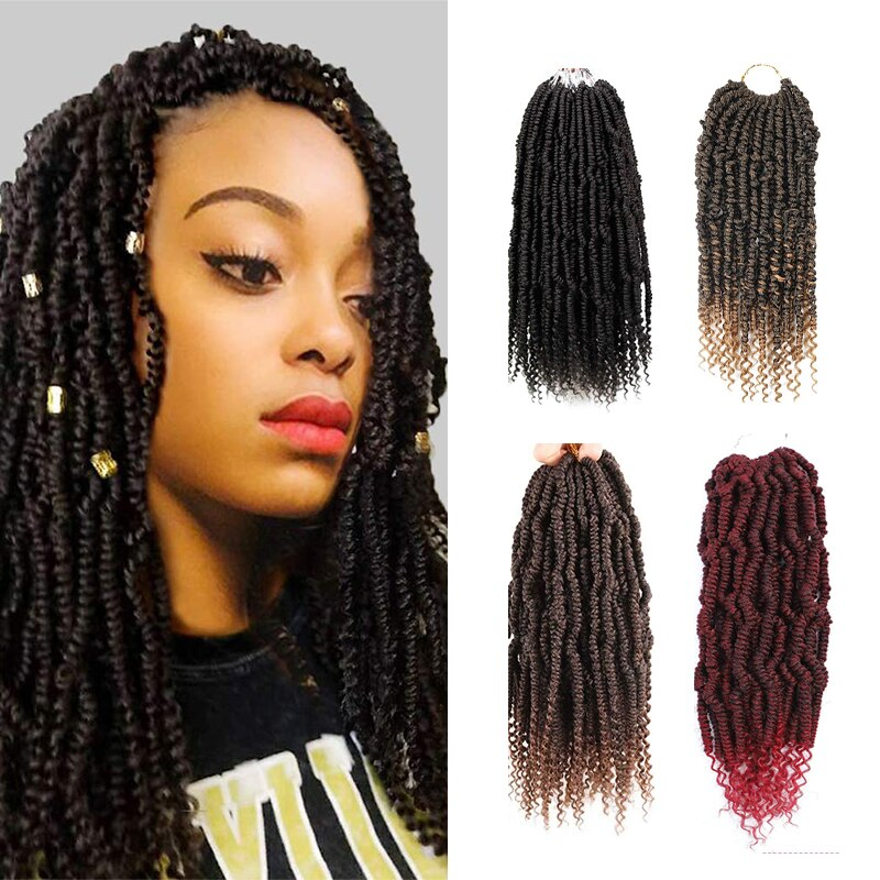 Spring Crochet Twist Braids Bomb Twist Crochet Hair 14 Inch Pre-looped Mini Passion Twist Synthetic Braiding Hair wigs 24 Roots