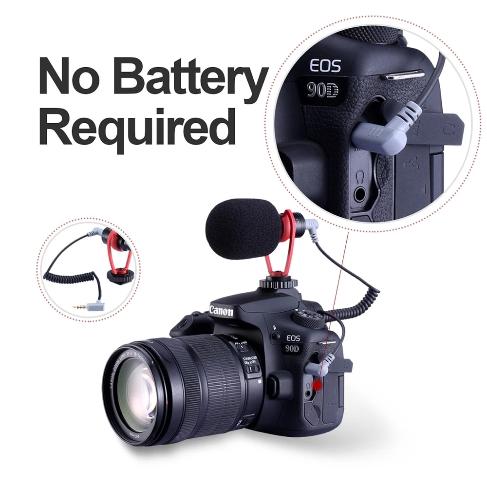 Ulanzi 3.5mm Plug Mini Shotgun Microphone Cardioid Mic Voice Record Microphone for DSLR Camera iPhone Android Smartphones Tablet enlarge