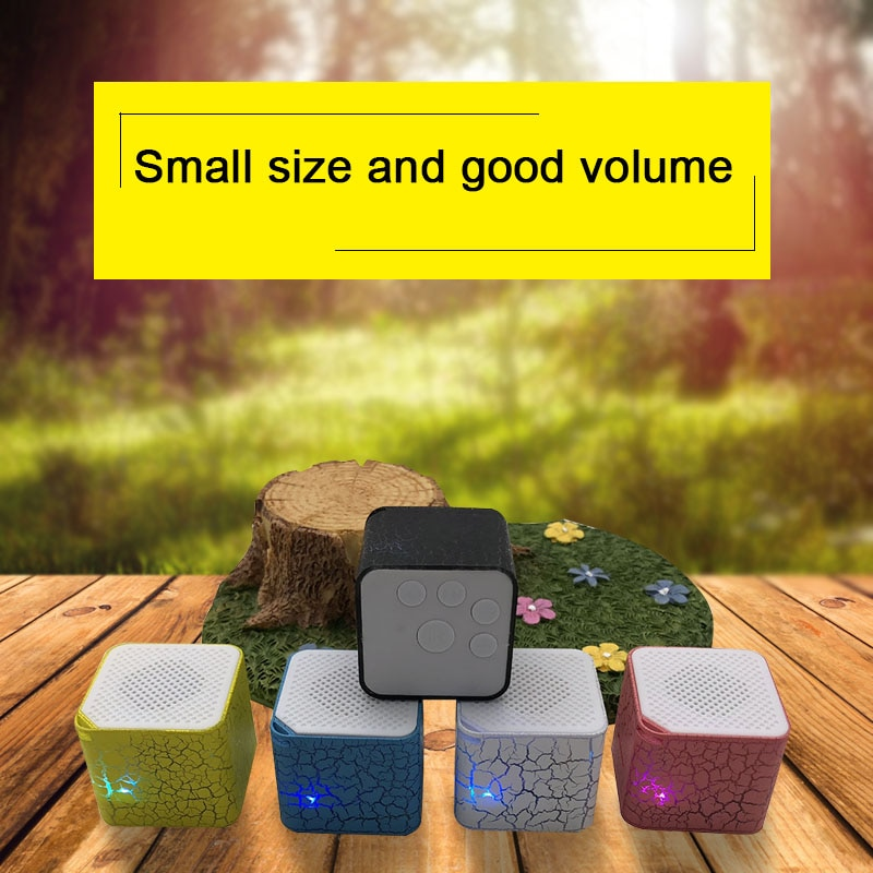 1pc Newest Durable Portable 3.5mm Square Colorful Lights Mini Speakers Plug-in TF Card Crack Pattern