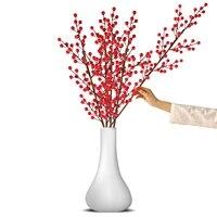 2021 Baies artificielles Branche De Feuille En Plastique Decoratif Faux Fleurs Baies BRICOLAGE Plante Rouge Nouvel An Decoration decor a la maison