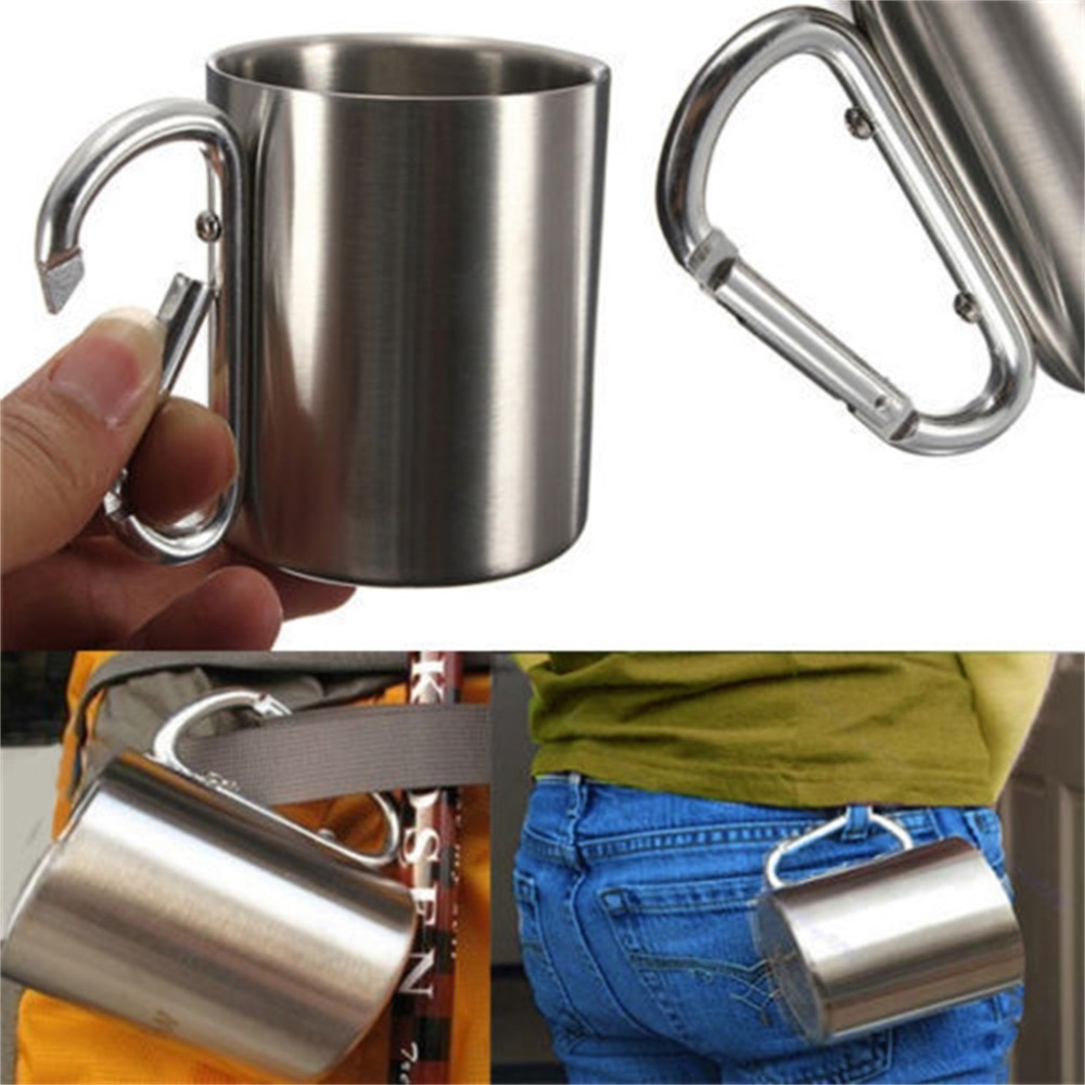 220ml Stainless Steel Mug Outdoor Camp Camping Cup Carabiner Hook Double Wall New keith 4pcs set double wall titanium water mug cup sets drinkware insulated camping cups ti3501 220ml 300ml 450ml 600ml