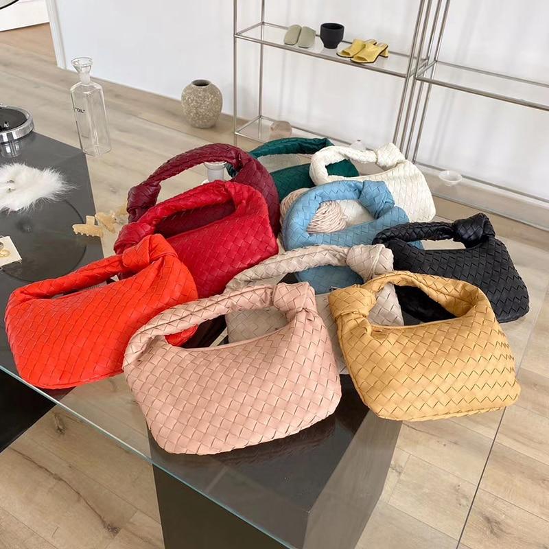 2021 الموضة اليدوية حقيبة من القماش الفاخرة المنسوجة الجلود المطبوعة حقيبة كتف سيدة Crossbody المتشرد بو معقود مقبض حقيبة يد كاجوال