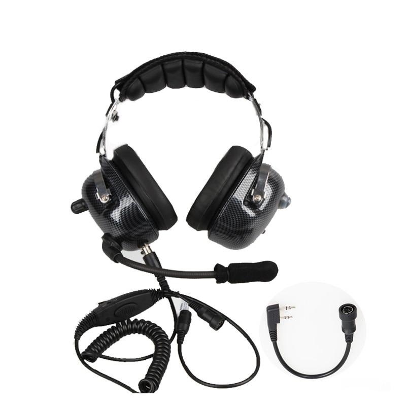 Aviation Walkie Talkie Headset Noise Cancelling Heaphone For Kenwood Baofeng UV-5R UV82 TK3302 2 Pins Two Way Radio