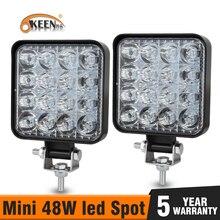 OKEEN Mini 48W wrok lumière barre de led offroad 12V 3.3in pour camion tout-terrain tracteur SUV 4x4 voiture Led phares brouillard éclairage Spot