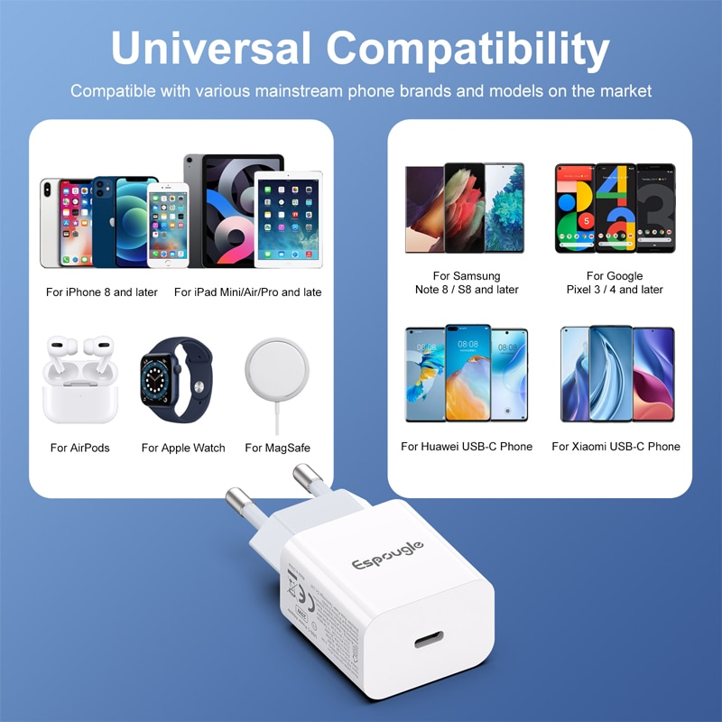 Espougle USB C Charger Quick Charge 4.0 3.0 QC 20W PD USB Type C Fast Charger for iPhone 12 Pro Max 11 Mini 8 Plus Xiaomi Phone enlarge