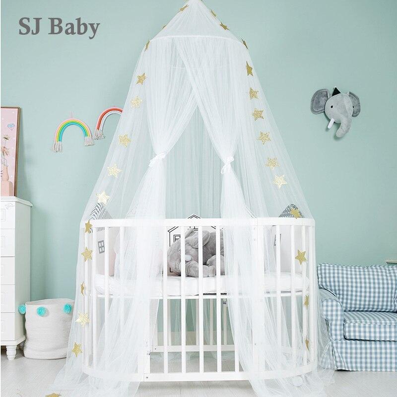 Baby Crib Netting Mosquito Net Hanging Round Baby Kids Lace Four Corner Canopy Bed Mosquito Net for Children Girls Room Netting