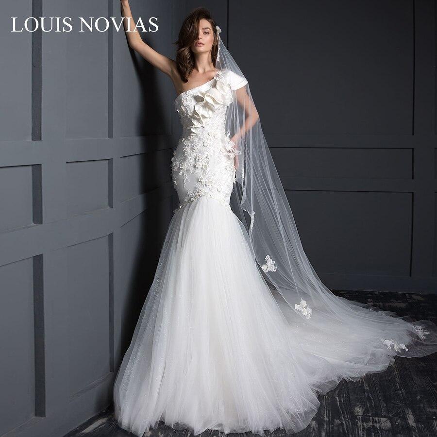 Abrir para trás Delicado Louis Novias Sexy Sereia Apertado Cintura Larga Hip Sonho Escova Trem Ilusão Bordado Applique Casamento