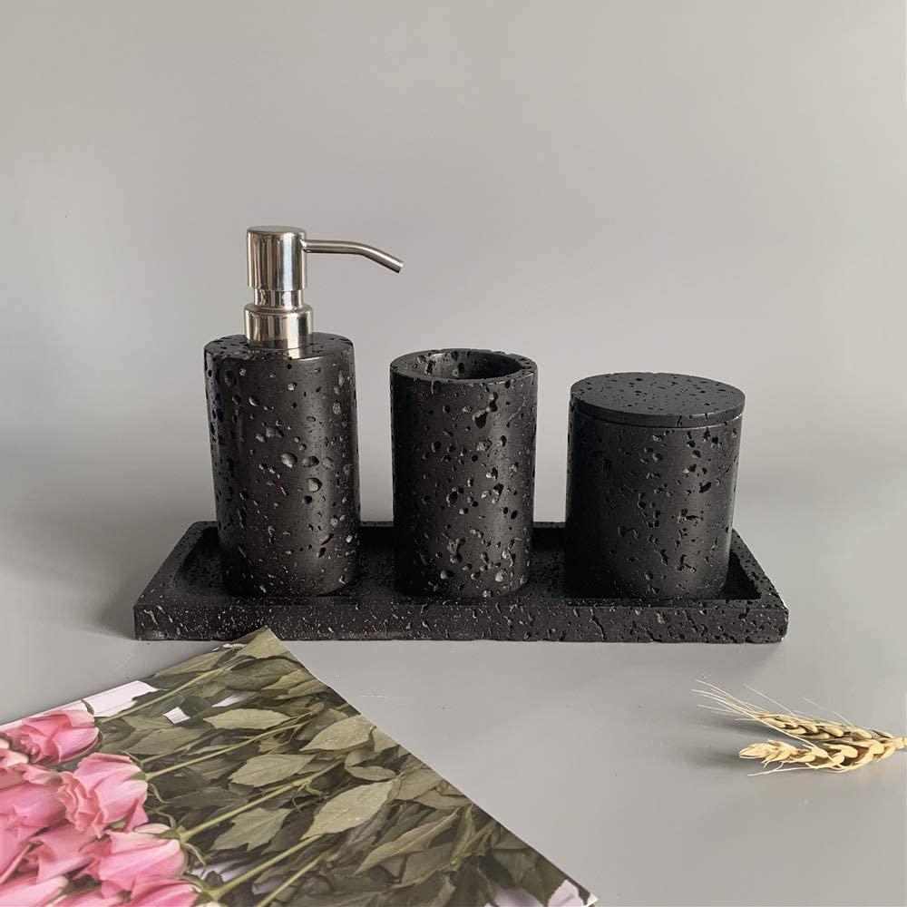 Natural Volcanic Rock Bathroom Accessories Set 4 Piece-Toothbrush Cup, Storage Tray, Liquid Soap Dispenser, Cotton Swab Box