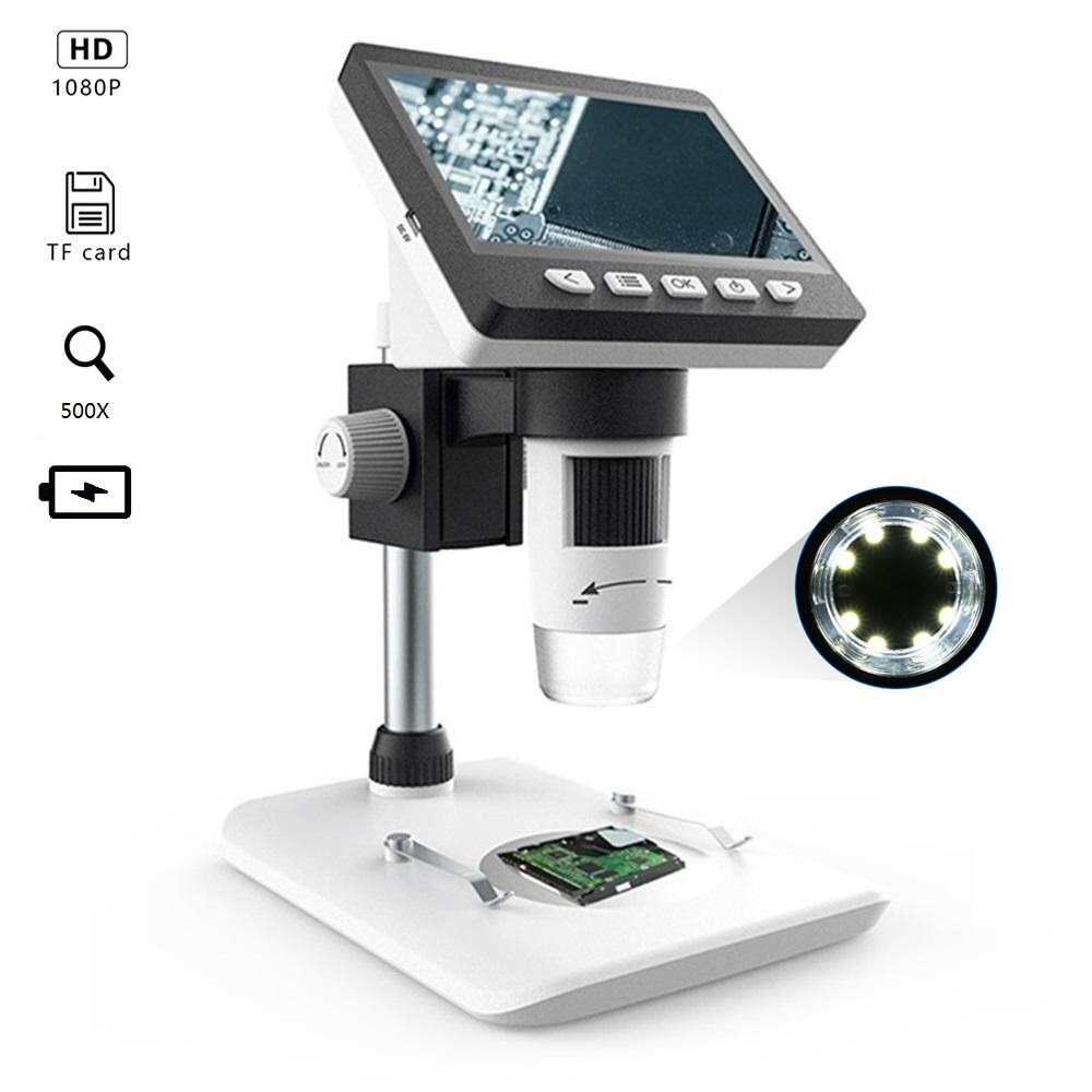 G700 4.3 بوصة HD 1080P المحمولة سطح المكتب LCD المجهر الرقمي دعم 10 لغات 8 Adju