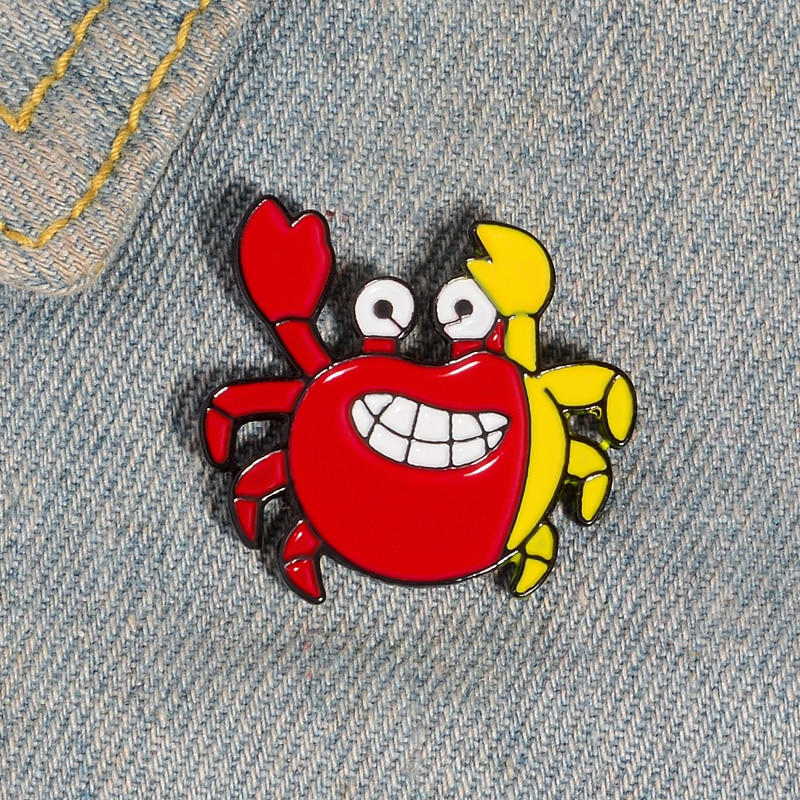 XEDZ red yellow happy crab enamel pin funny cartoon animal lapel pushpin customize bag clothes brooch badge children gift  - buy with discount