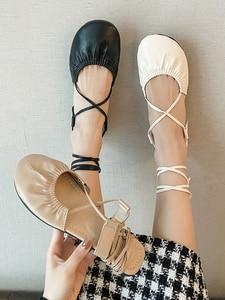 Flats Sandals Women's Ballet Flats Shoes New Summer Half Single Shoes Ankle Lace-up Rome Shoe Leahter Sandalias Femininas Slides