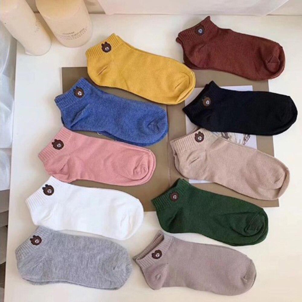 Novo 10 pares dos desenhos animados urso meias de alta qualidade poliéster barco meias absorver suor desodorante dez-color saco casual meias esportivas