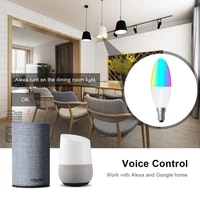E14 LED Ampoule Bougie Dinterieur Couleur Neon Ampoule Bande RVB Avec Controleur Declairage 220V E12 Dimmable Smart Home Assistant