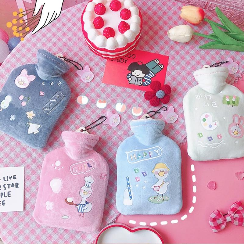 Hot Water Bottle Cute Cartoon Portable Cold-proof Fleece Bag For Girls Hand Safe Explosion-proof Hot Water Bottle грелка для рук enlarge