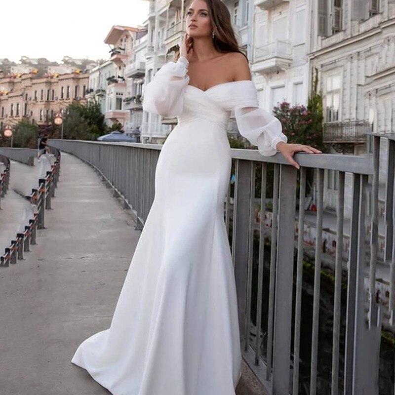 Promo Boho Boat Neck Wedding Dress Lantern Sleeve Backless  Brush Train For Women Robe De Mariee Elegant Bride Gown New Arrivals Satin