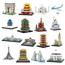 Balody Architecture diamant bâtiment petits blocs jouet congrès bâtiment tour Eiffel maison blanche grand Ben Louvre musée pas de boîte