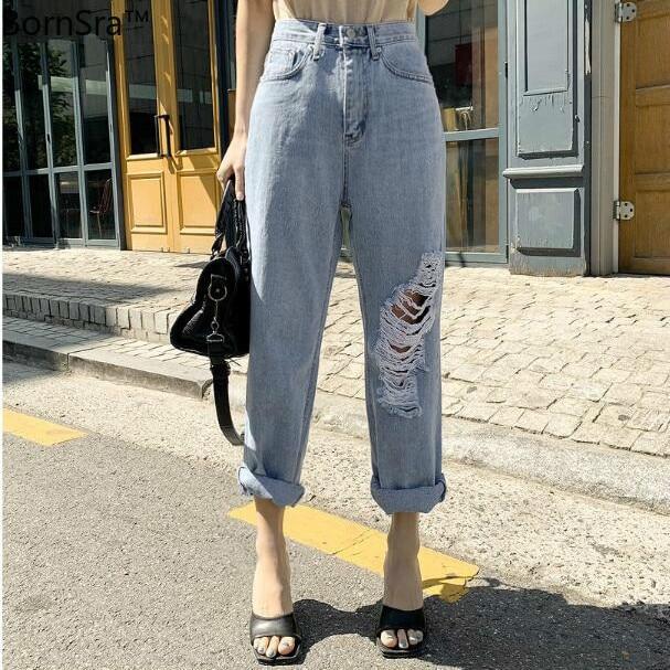 BornSra, pantalones de mezclilla para mujer, cintura alta, rasgados, con dobladillo, con flecos, pantalones de mezclilla para mujer, ropa de calle de primavera 2020, pantalones de mezclilla para mujer