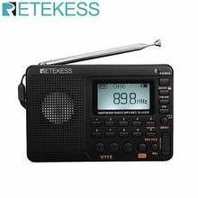 RETEKESS-receptor de Radio de bolsillo V115 AM FM SW, altavoz FM de onda corta, Transistor, tarjeta TF, USB, grabadora REC, tiempo de sueño