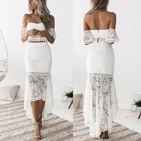 women 2pcs set lace bandeau tops bodycon skirts pencil midi dress party holiday