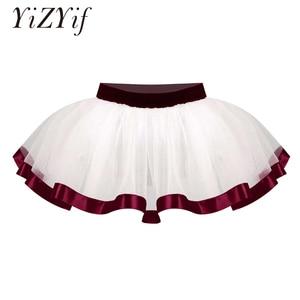 Tutu Skirts For Baby Girls Satin Lace Hem Mesh Dance Skirt Ballet Party Tulle Princess Ballerina Girls DanceWear Short Skirts