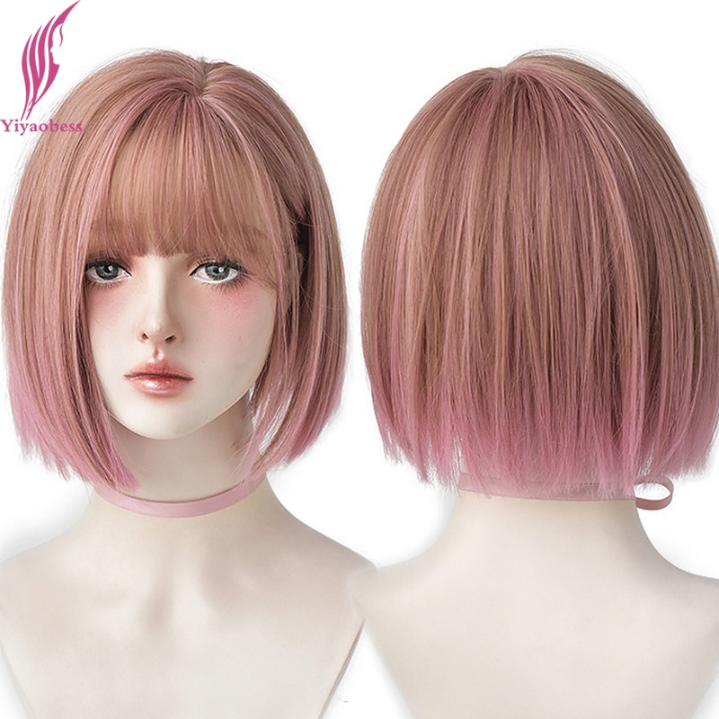Yiyaobess 14inch Pink Black Brown Short Bob Wig With Bangs Synthetic Hair Natural African American Wigs For Women Heat Resistant
