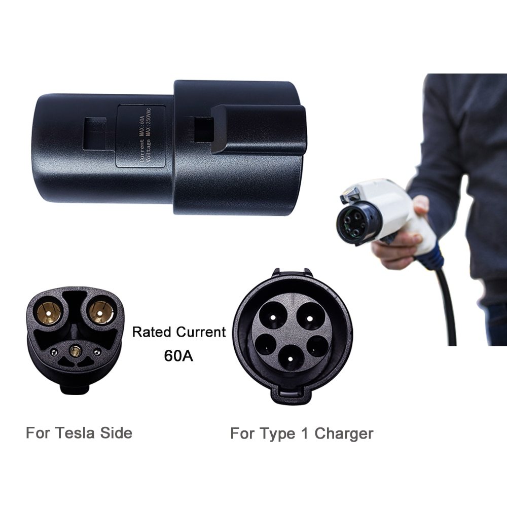 Khons EVSE Adaptor 16A 32A 60A Electric Vehicle EV Charger SAE J1772 Socket Type 1 To Tesla Connector EV Adapter For Charging enlarge