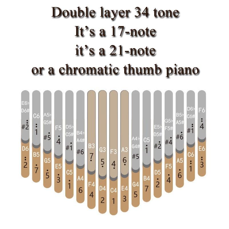 17/24/34 Keys Thumb Piano 34-tone Kalimba Double Layer Dual Kalimba Kalimbas Keyboard Instruments Musical Sports Entertainment enlarge