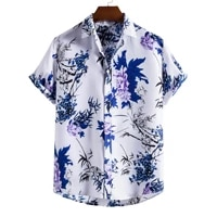 2021 new mens stand collar short sleeve shirt ethnic style series printed shirt