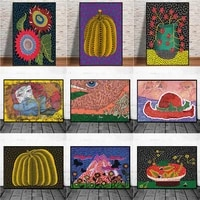 yayoi kusama purple pumpkin canvas oil painting posters and prints quadros wall art picture for living room home decor cuadros