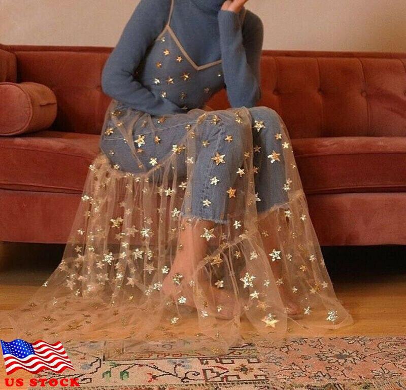 Женское фатиновое длинное платье на тонких бретельках, прозрачное плиссированное платье с блестящими звездами, 2019