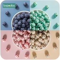 bopoobo 10pcs silicone beads 1215mm leopard print sensory teething necklace diy accessories pacifier chain nursing bpa free