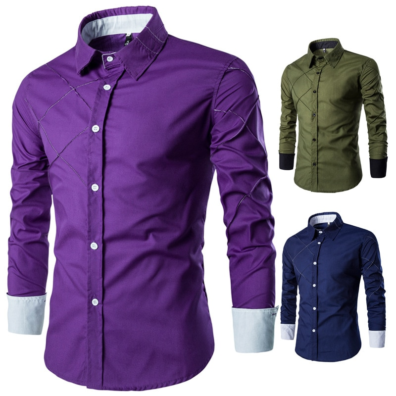 SKU: CS14 men's long sleeve shirt grid line 10 leisure shirt color design