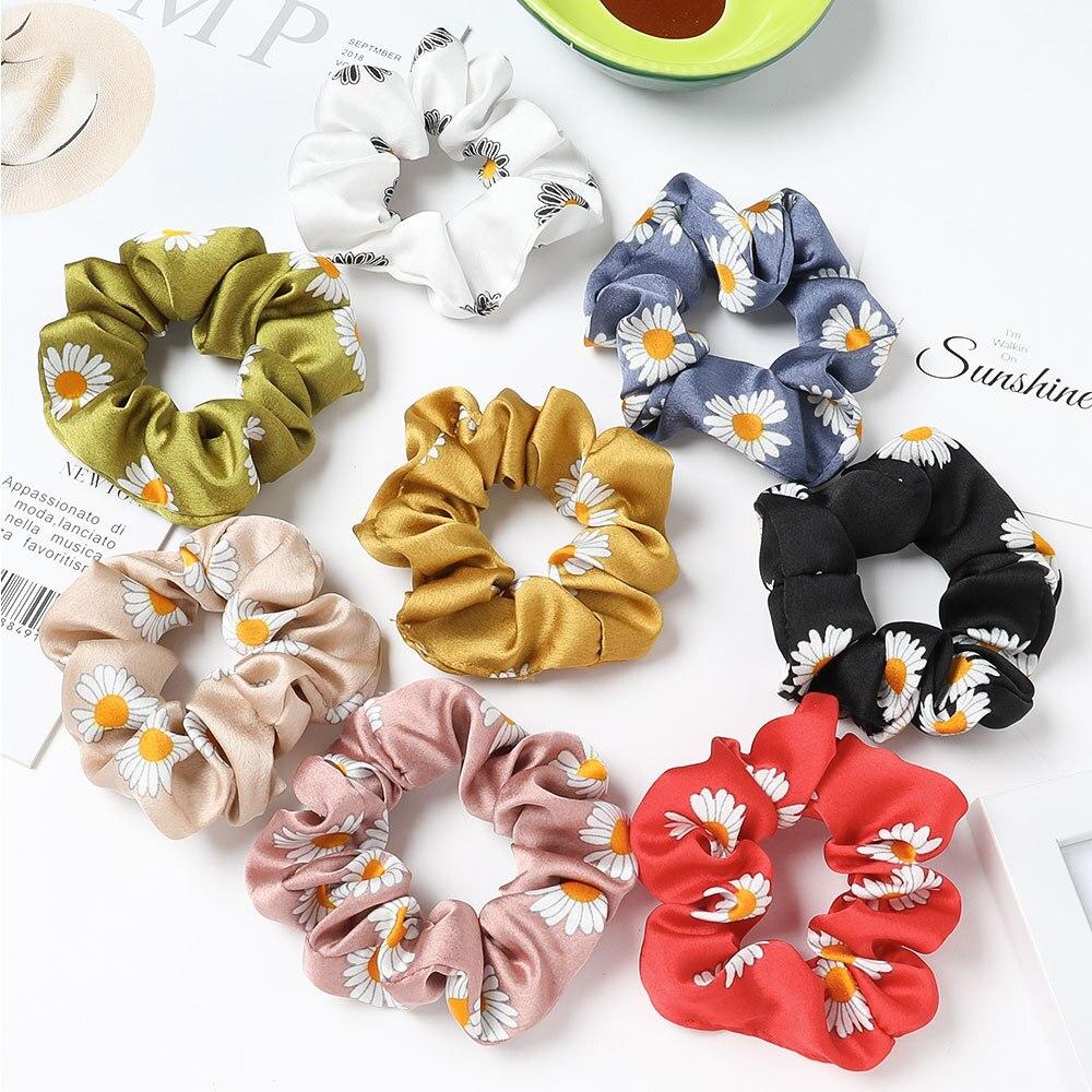Hot Bulk Sale 7pcs/lot Women Sunflowers Hair Ties Satin Fabric Hair Scrunchie Pack Wholesale Hairbands Set Cute Korean Fashion
