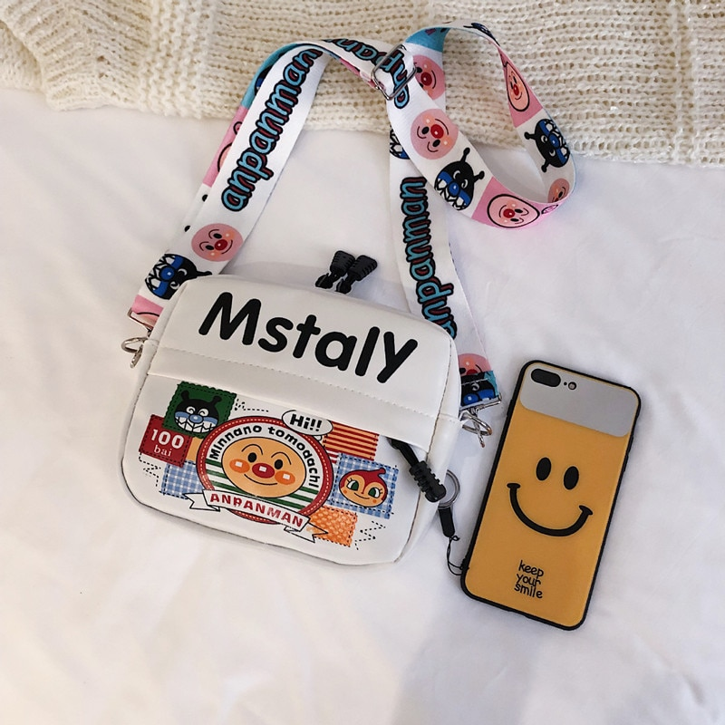 European and American style cute printed small school bag wild fashion wide shoulder strap messenger bag fashion shoulder bag