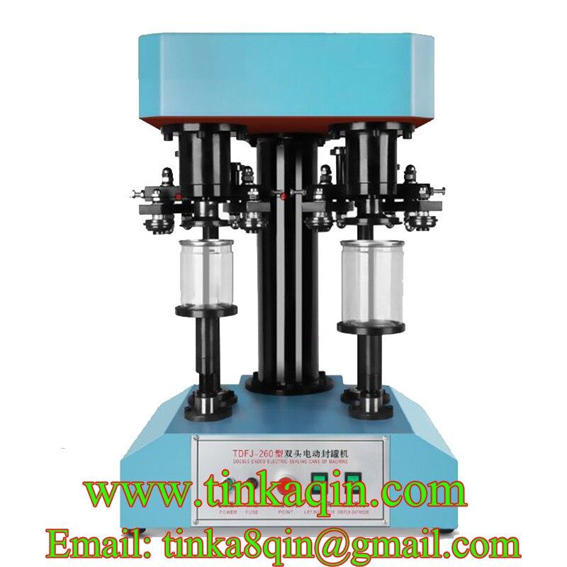 TDFJ-260 doble cabeza máquina de sellado eléctrica taponadora máquina de tapado mascota puede máquina de sellado de sellador de máquina de lata de leche