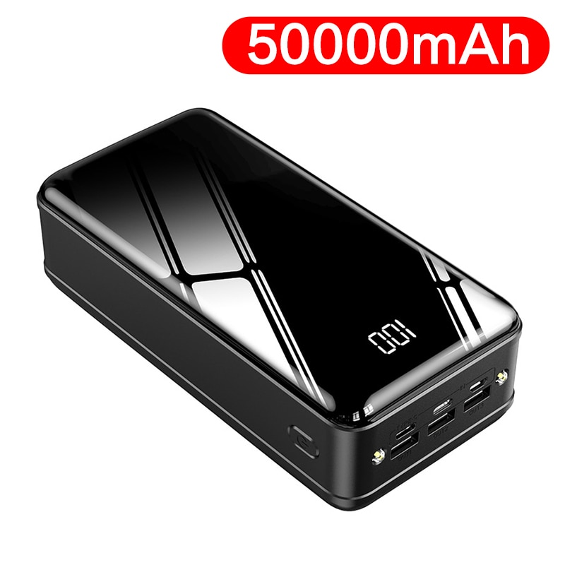 Banco de potência 50000 mah powerbank portátil carregador de bateria do telefone móvel 3 usb em dois sentidos carga rápida poverbank para xiaomi mi power bank