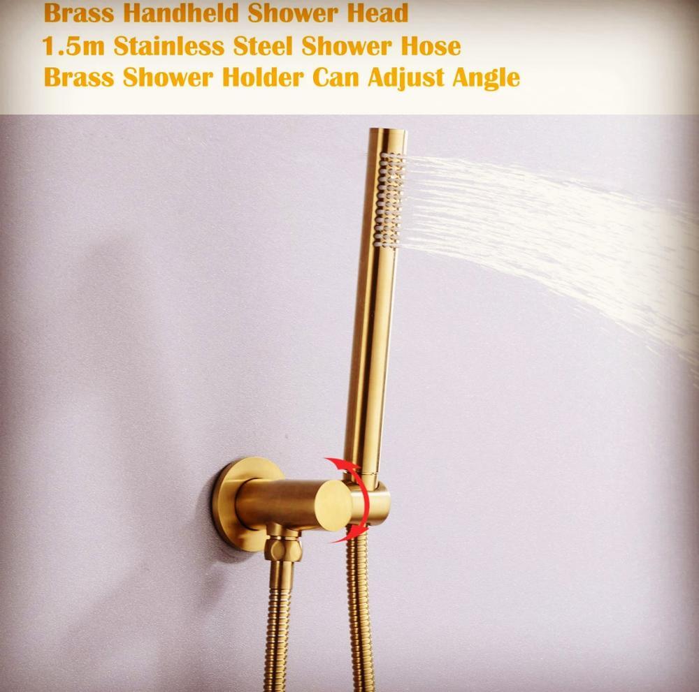 فاخر التيتانيوم الذهب جميع النحاس الحمام يده دش سماعات رأس مع النحاس حامل 1.5 متر خرطوم الحائط دش اكسسوارات