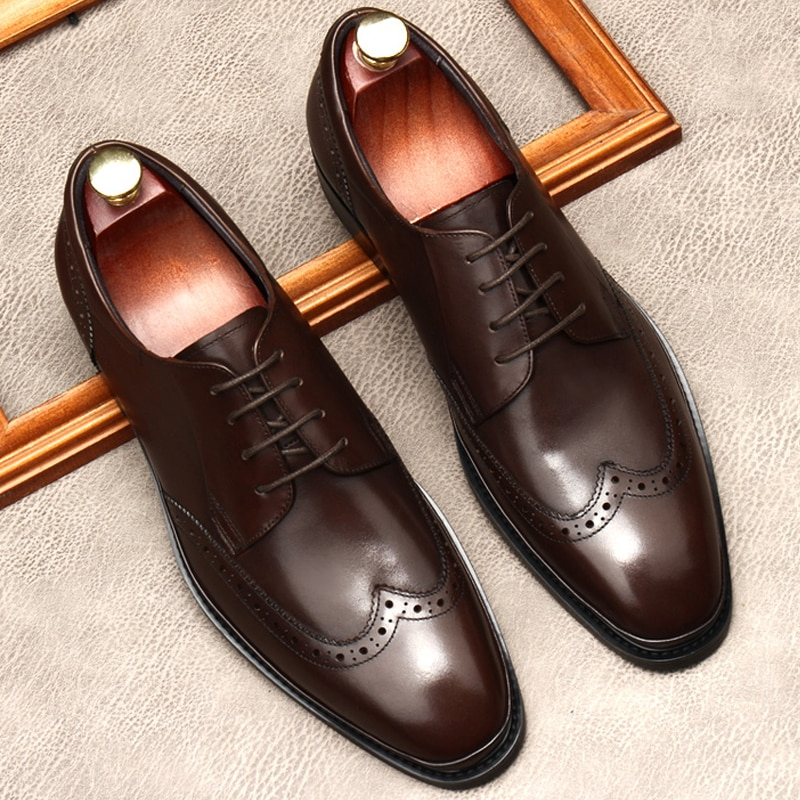 Black Coffee Color Man Casual Party Shoes Lance Up Oxford Brogues Formal Shoes Genuine Leather Wedding Business Men Dress Shoe