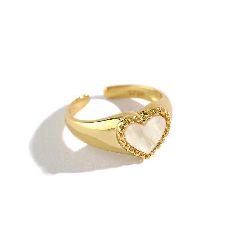 VINY в виде ракушки любовь сердце открытый палец 925 пробы серебряные кольца, золото/Серебряные кольца для Для женщин 2021 тренд Bague Анель Bijoux (укр...