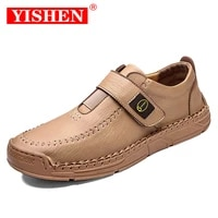 yishen men soft leather handmade shoes fashion flats walking lace up driver shoes non slip classic casual loafers plus size