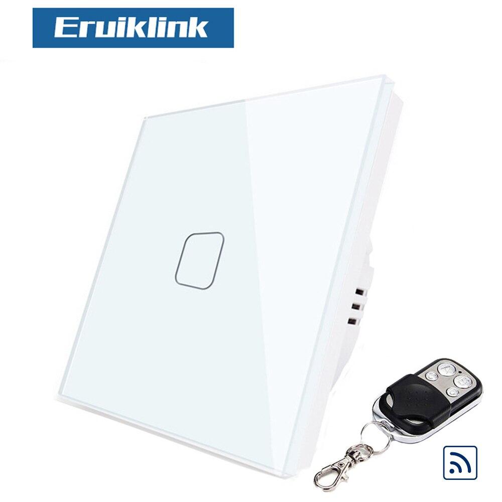 8 قطعة Eruiklink الاتحاد الأوروبي مفتاح إضاءة يعمل باللمس ، المنزل الذكي 1 عصابة اللاسلكية الجدار ضوء اللمس عن بعد التبديل متوافق مع Broadlink Rm برو