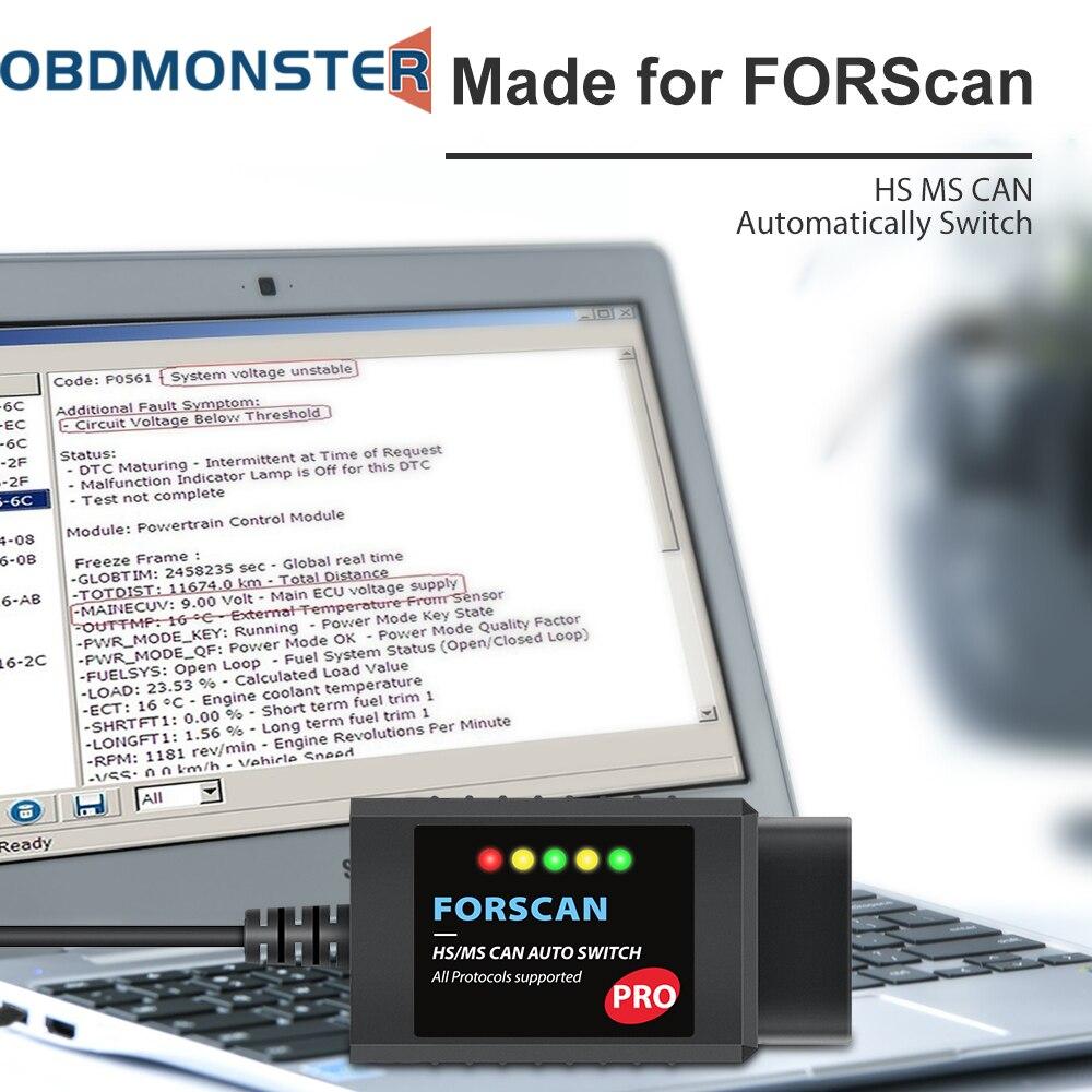 Диагностический сканер ELM327 V1.5 HS для автомобилей Ford, инструмент для сканирования скрытых функций, программирование OBD2