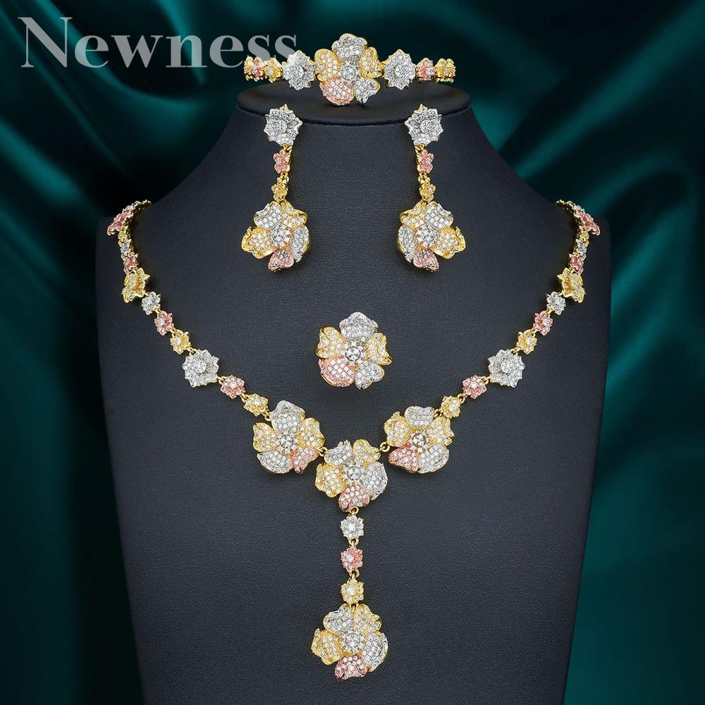 Newness-عقد وأقراط من الزركونيا المكعبة الصغيرة للنساء ، جودة عالية ، أزياء فاخرة ، أزهار خارقة ، مجوهرات الزفاف